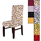 SHZONSTMSuper Fit Stretch Removable Washable Short Dining Chair Cover Protector Seat Slipcover For HotelDining Room CeremonyetcChampagneCoffee