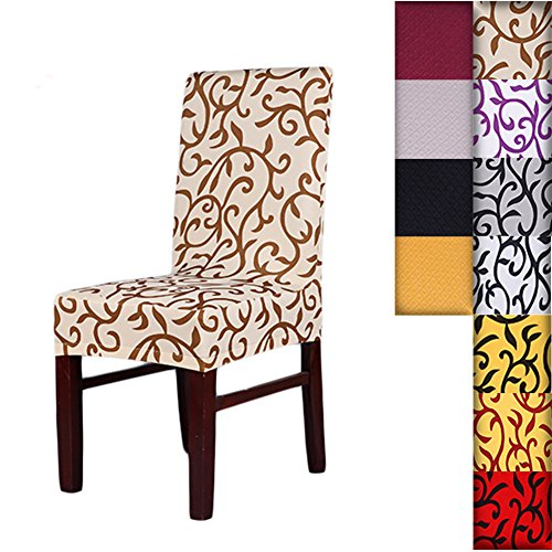 SHZONS™Super Fit Stretch Removable Washable Short Dining Chair Cover Protector Seat Slipcover for Hotel,Dining Room,Ceremony,etc.(ChampagneCoffee) (Dinning Room Chair Covers)