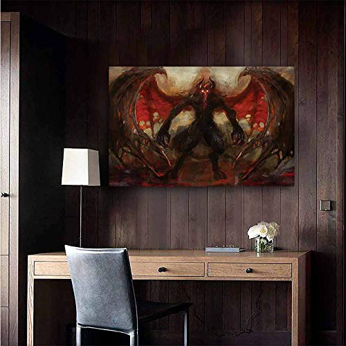 duommhome Fantasy World Abstract Painting Devil Shadow with Wings Primary Opponent of Good Rising Hell Afterlife Image Natural Art 20