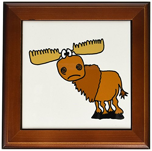 Framed Deer Tile - 3dRose ft_196260_1 Funny Grumpy Moose Cartoon Framed Tile, 8 by 8-Inch