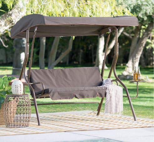 Summer Decor Outdoor Bench Swing-Outdoor Swing Canopy Feel Relaxed Everytime in Your Patio-Color Chocolate Polyester Canopy Dark Brown Steel Frame with Side Tables