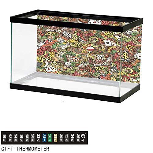 bybyhome Fish Tank Backdrop Casino,Doodle Style Art Bingo,Aquarium Background,36
