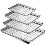 Baking Sheet and Rack Set, E-far Stainless Steel Rimmed Cookie Sheet Baking Pans Toaster Oven Tray with Cooling Rack, Non Toxic & Healthy, Rust Free & Dishwasher Safe - 8 Pieces (4 Pans + 4 Racks)