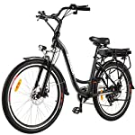 """ANCHEER 26"""" Bici Elettrica, Ebike Città con Batteria Rimovibile 12,5 Ah Integrata nel Telaio Posteriore 30 Miglia Freni a Doppio Disco"""