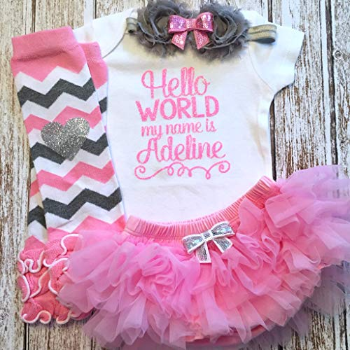 (Take Home Outfit Baby Girl Outfit Hello World Pink Silver Personalized Name Optional Tutu Bloomers Headband and Leg Warmers)