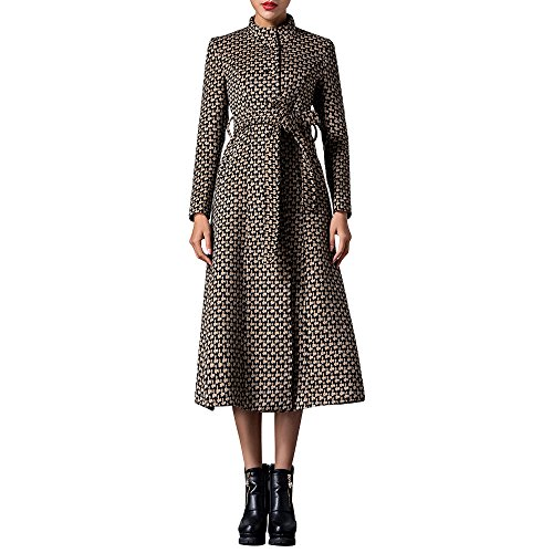 Belted Tweed Belt (Dezzal Women's Vintage Stand Collar Wool Blend Belted Maxi)