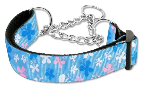 (Mirage Pet Products Martingale Butterfly Nylon Ribbon Collar, Medium, Blue)