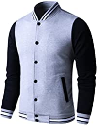 596fcece665 Mens Lightweight Varsity Jacket Button Down Baseball College Letterman  Jacket