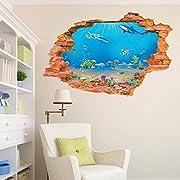 BIBITIME Tropical Fish Shark Break Through Wall Stickers Home Art 3D Underwater World Wall Decal Vinyl Decor for Nursery Bedroom 34.25  x 22.04