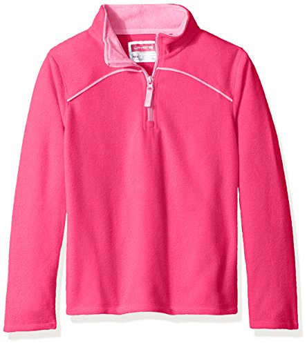 Price comparison product image Layer 8 Girls Kids Little Girls' Solid Quarter Zip Fleece, Knockout Pink/Sugar Plum, Medium