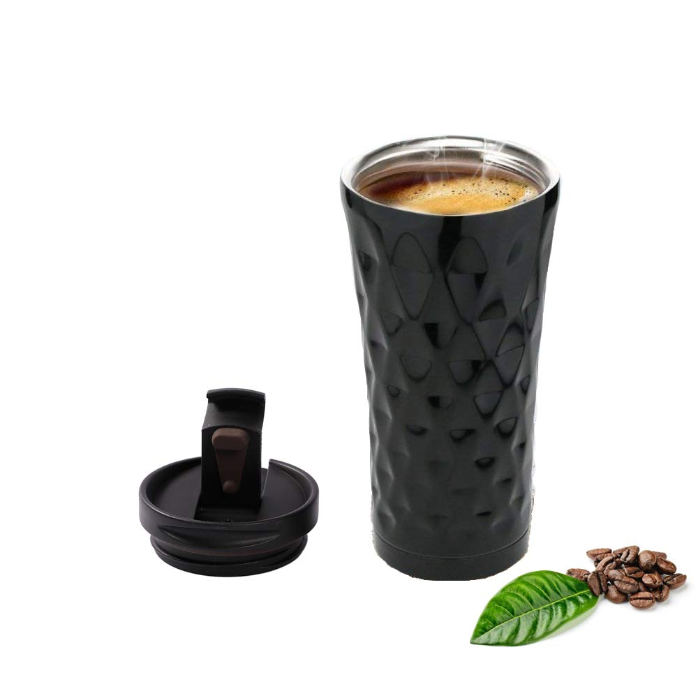 Vacuum Insulated Thermal Mug Travel Car Tumbler Mug Beijiang Stainless Steel Double Wall Customized Cup for Hot & Cold Drinks Cup Leak & Spill Proof, Easy to Clean Lid 16 Oz Black