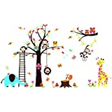 RRRLJL Colorful Jungle Tree with Zoo Animals and Owls Wall Decal Sticker Kid's Room Decorative