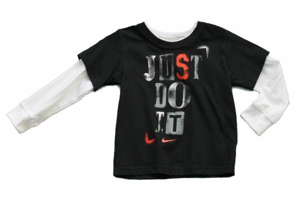 Boys Toddler Nike Long Sleeve Tee (2T, Black/White/Just Do It)
