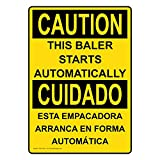 ComplianceSigns Vertical Plastic OSHA CAUTION This Baler Starts Automatically Bilingual Sign, 10 X 7 in. with English + Spanish Text, Yellow