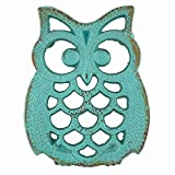 Blue Owl Iron Trivet Aqua Marine Teal Blue Kitchenware The Crabby Nook