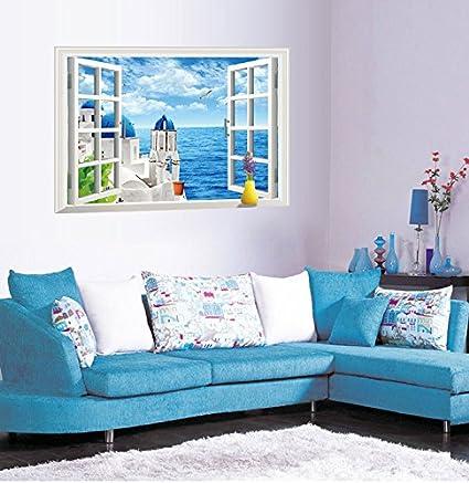 Loterong Pegatinas Pegatinas Dormitorio Calido Living Comedor Calido - Paredes-pintadas-de-azul