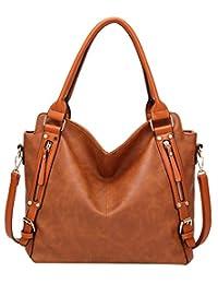 ilishop PU Leather Handbags Large Capacity Tote Fashion Hobo Shoulder Bags
