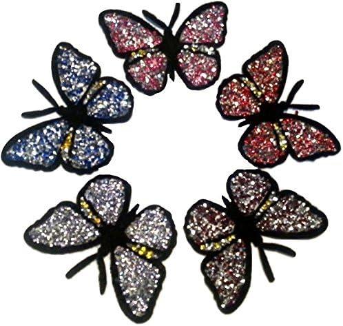 Basteln DIY Kleidungdeko Groß Aufbügler Bunt Schmetterling Schön Bügeln Strass