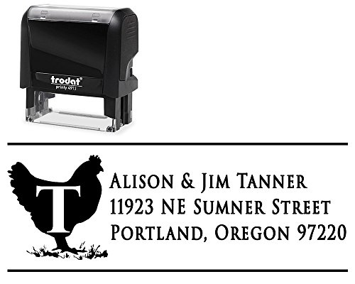 Address Chicken Labels (Personalized Address Labels Self-Inking Stamp, Variety of Designs and Choose Your Ink Color. Surname Initial and 3 Lines Chicken Barn Animal for Initial Family Surname)