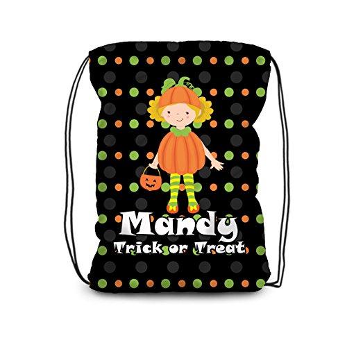 Halloween Drawstring Backpack - Trick or Treat Bag, Pumpkin Costume Personalized Name Bag]()