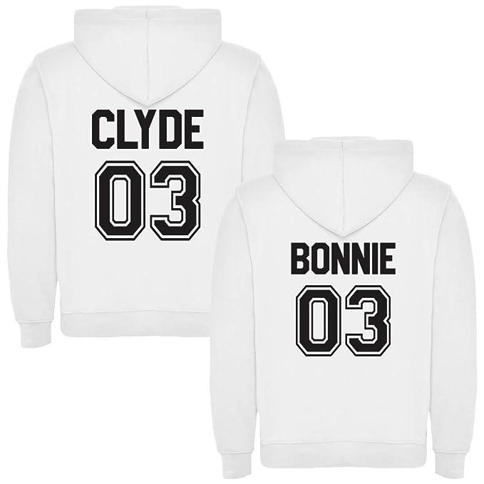 Pack de 2 Sudaderas Blancas para Parejas, Bonnie y Clyde Negro (Mujer Tamaño L