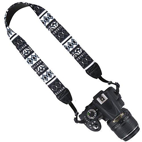 DSLR / SLR Camera Neck Shoulder Belt Strap - Wolven Cotton Canvas DSLR/SLR Camera Neck Shoulder Belt Strap for Nikon Canon Samsung Pentax Sony Olympus or Other Cameras (Black Stripe (Kodak Strap)