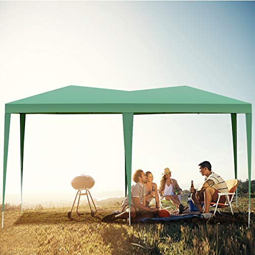 Tangkula 10'X20' EZ Pop Up Tent Gazebo Outdoor Garden Wedding Party Canopy Shelter with Carry Bag (Green/Blue) (Green)
