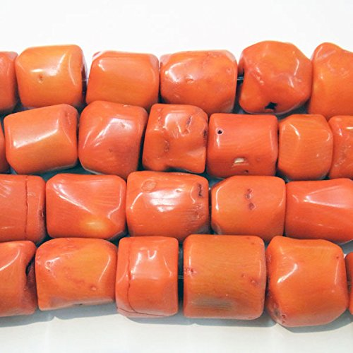 Coral Jewelry - TheTasteJewelry 15-20mm Mix Sizes Orange Coral Nugget Drum Beads 15 inches 38cm Jewelry Making Necklace Healing Power