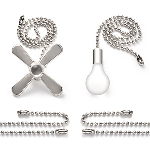 """Bronze Pull Chain Set, Sunix 11.8"""" Ceiling Fan Pull Chain Included 35.4"""" Diameter 3.2 mm Beaded Extensions with 4 Connectors, Silver, One Pair by Sunix (Image #8)"""