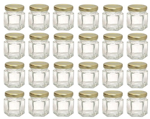 Hexagon Glass Jars, Mini Hex Jars 1.5 Oz - Case of 24 ()