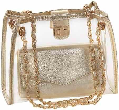 d795d100f51 YellowPin Women's 2-in-1 Clear Shoulder Chain Bag Crossbody Purse + Clutch