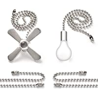 """Bronze Pull Chain Set, Sunix 11.8"""" Ceiling Fan Pull Chain Included 35.4"""" Diameter 3.2 mm Beaded Extensions with 4 Connectors, Silver, One Pair"""