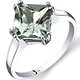 14K White Gold Green Amethyst Solitaire Ring 2.00 Carat Princess Cut