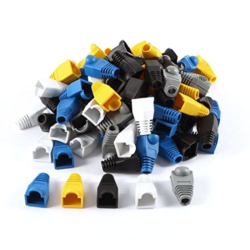 Covers Cable Network (HHY 100 Pcs Mixed Color CAT5E CAT6 RJ45 Ethernet Network Cable Strain Relief Boots Cable Connector Plug Cover)
