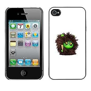 PC/Aluminum Funda Carcasa protectora para Apple Iphone 4 / 4S Furry Monster Cute Cartoon Toy / JUSTGO PHONE PROTECTOR