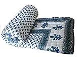 ExclusiveTraditional Jaipuri Handmade Sanganeri Print Ethnic Double Bed Quilt Rajai Razai