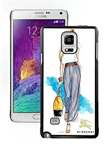 Galaxy Note 4 Case,Burberry 25 Black Samsung Galaxy Note 4 Screen Phone Case Fashion and Newest Design