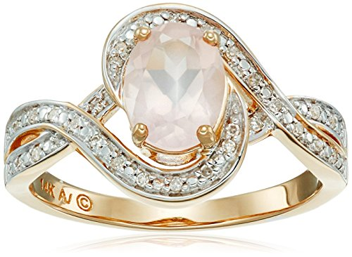 14k Yellow Gold Oval Rose Quartz with Diamond Ring, Size 7