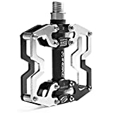 INBIKE Bike Pedals, Aluminum Alloy Wide Platform Lightweight Bicycle Pedal for MTB(Silver)