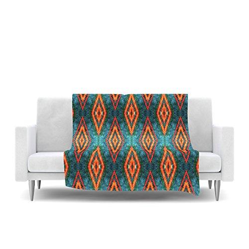 Kess InHouse Anne Labrie Diamond Sea Blue Orange Fleece Throw Blanket, 80 by 60'