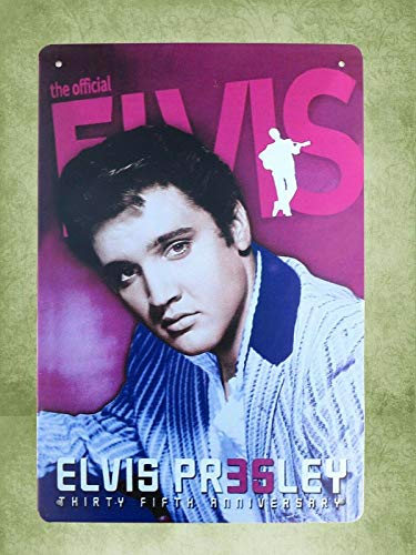 - QDTrade Metal Sign 16 x 12inch - Office Art Elvis Presley Thirty Fifth Anniversary Vintage Look tin Sign Wall Decoration Bar Cafe Home Decor