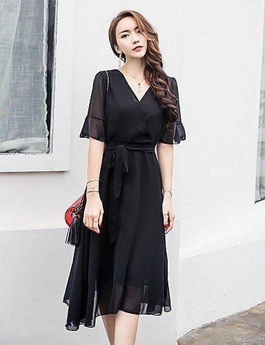 dcb7cc1b49c8 DD Clothes Largo Nero Vestito da Donna-per Uscire Casual Moda Città Tinta  Unita A V al
