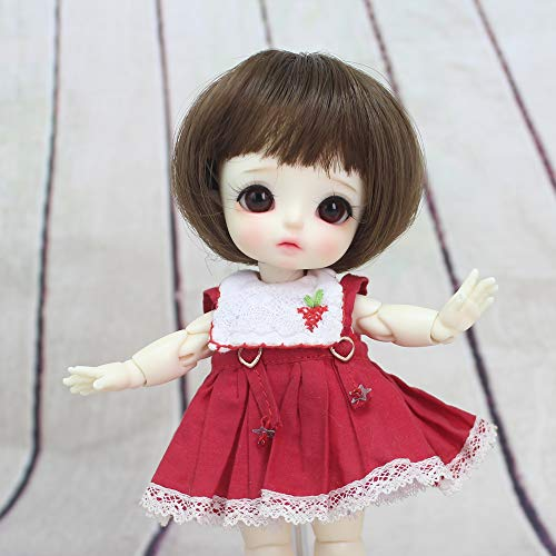 Mohair Light Brown (5-6 Inch Lovely Bob Straight Hair with Bangs Ponytail BJD Wigs 1/8 Lati Light Brown Mohair)