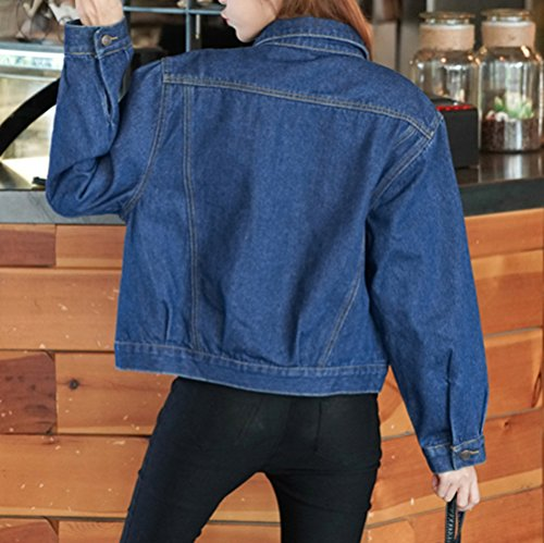 Jacket Mujeres Chaquetas Cazadora Manga Abrigo Oscuro Vaquera Corto Larga De Azul Mezclilla Denim Jacket r0x0qvw5