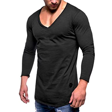 2919bcc7ba6e Image Unavailable. Image not available for. Color  JaHGDU Men Tee Slim Fit  V Neck Long Sleeve Muscle Cotton Fashion Casual Blouse Shirts Sport