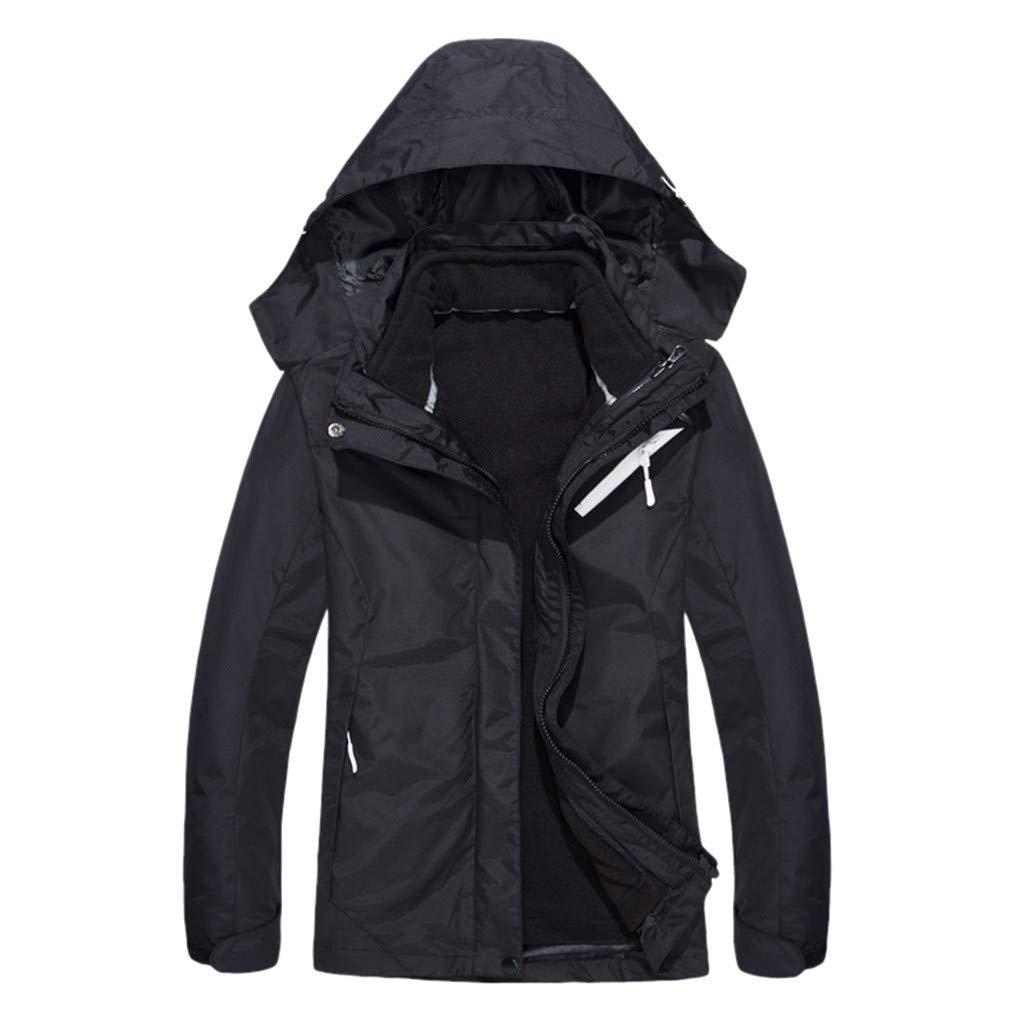 Alangbudu Women Detachable Hoodie Zipper Inner Warm Plush Outdoor Coat Long Sleeve Sportwear Tops Casual Outwear Jacket Black by Alangbudu-Women's Long sleeve blouses & sweatshirts & hoodies