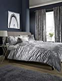 Lawrance Caprino Luxury Crushed Velvet Duvet Quilt Cover, Lined Eyelet Ring TOP HEADER Curtain,Cushion Cover Bedding (SILVER, DOUBLE)