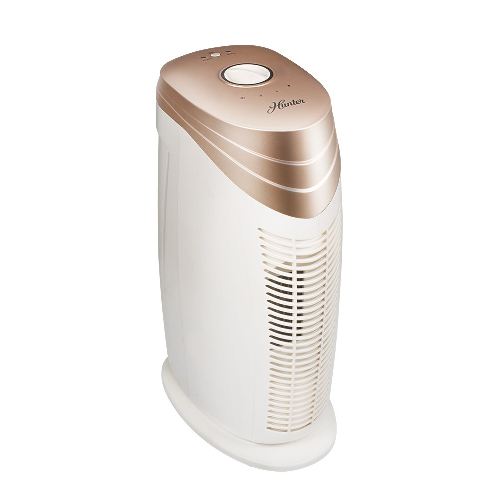 Hunter HT1702 Air Purifier with ViRo-Silver Pre-Filter and HEPA Filter, for Allergies, Germs, Mold, Dust, Pets, Smoke, Pollen, Odors, for Medium Rooms, 18-Inch Rose Gold White Air Cleaner