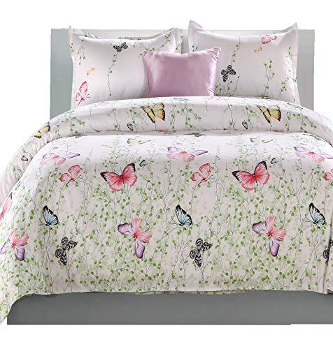 LAMEJOR Duvet Cover Set Queen Size Butterfly Pattern White Bedding Set Comforter Cover(1 Duvet Cover+2 Pillowcases