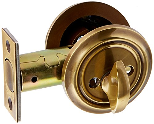 Solid Brass Single Cylinder Low Profile Deadbolt Antique Brass With 2 3/8